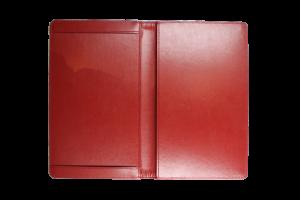 Speisekarte-Nizza-rotes-PU-Leder-geoeffnete-Ansicht